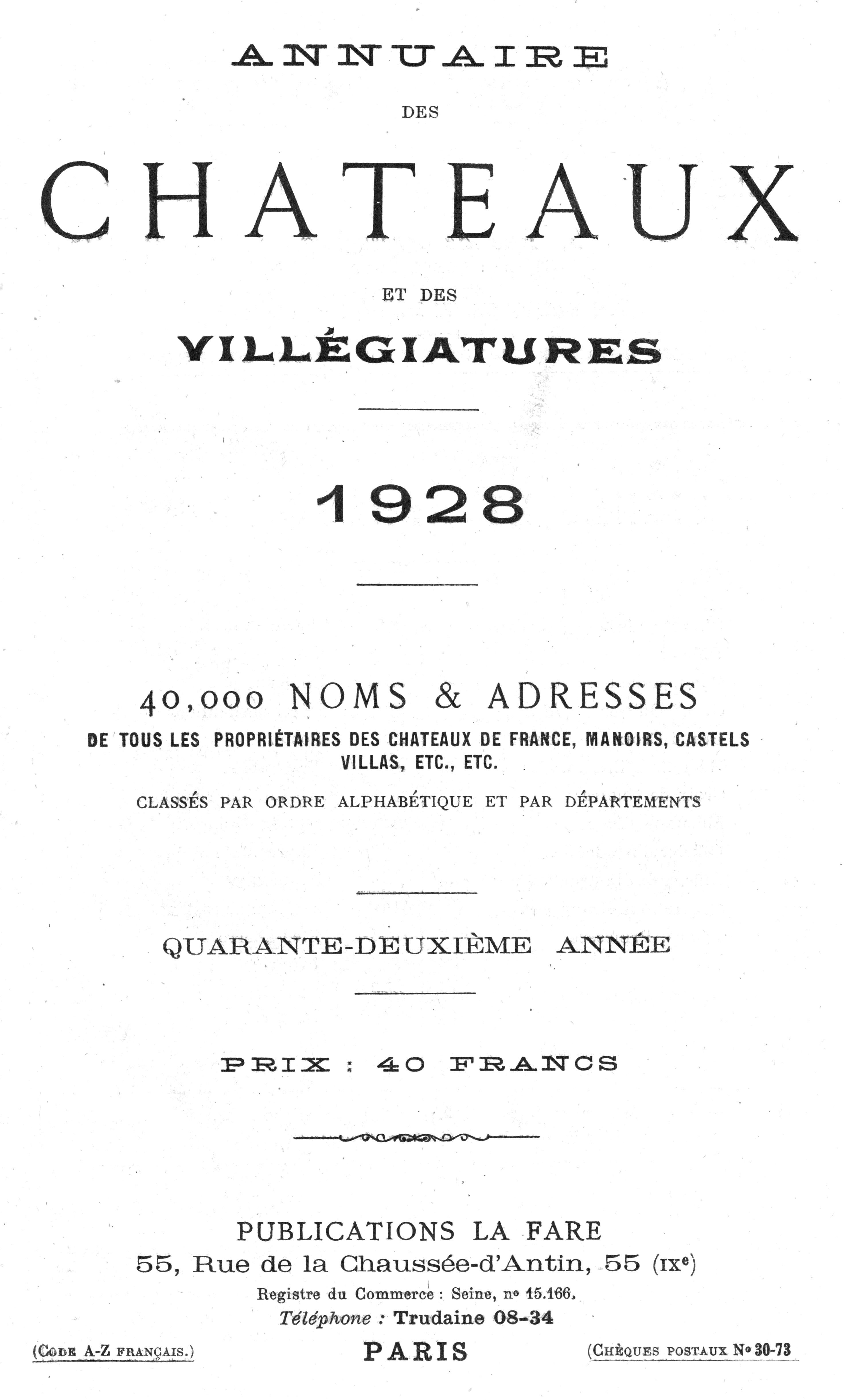 1928 - Annuaire des châteaux